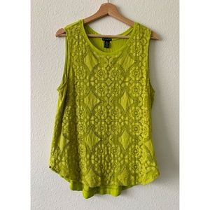 New Directions Green Laced Front Tank Top